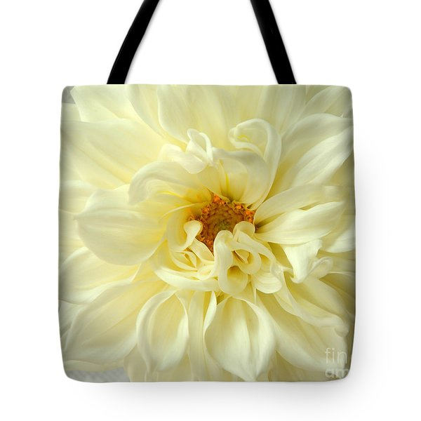 Tote Bag featuring the photograph White Dahlia by Olivia Hardwicke