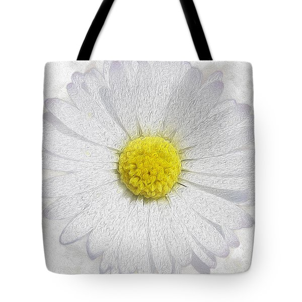 White Daisy On White Tote Bag by Jon Neidert
