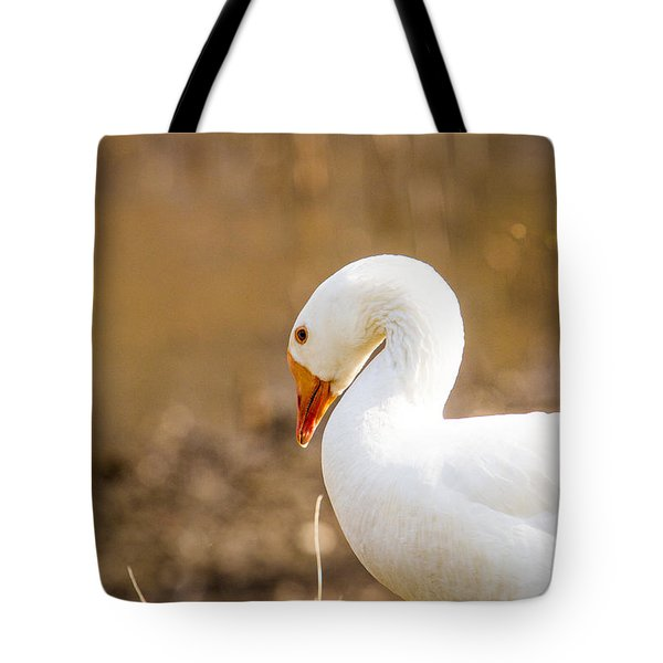 Tote Bag featuring the photograph White Duck by Eleanor Abramson