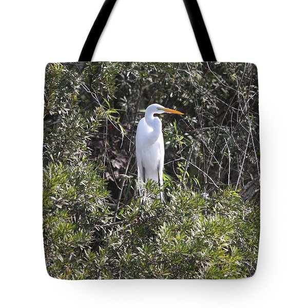 Tote Bag featuring the photograph White Egret In The Swamp by Christiane Schulze Art And Photography