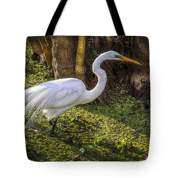 White Egret On The Hunt Tote Bag