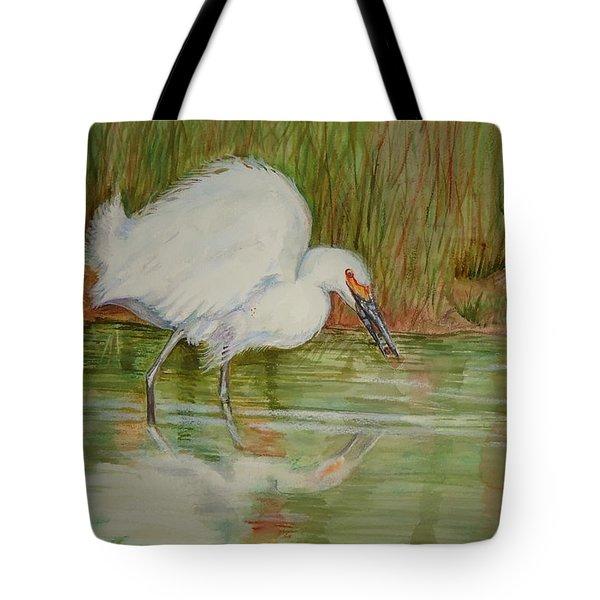 White Egret Wading  Tote Bag