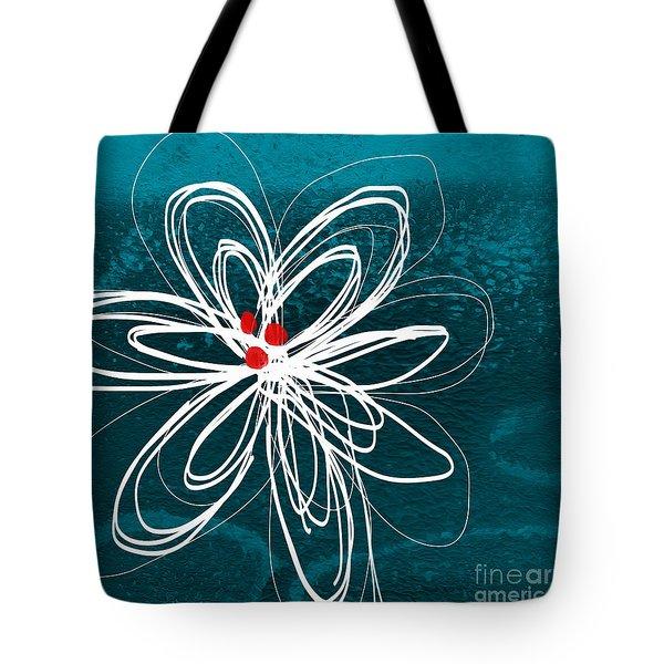 White Flower Tote Bag by Linda Woods