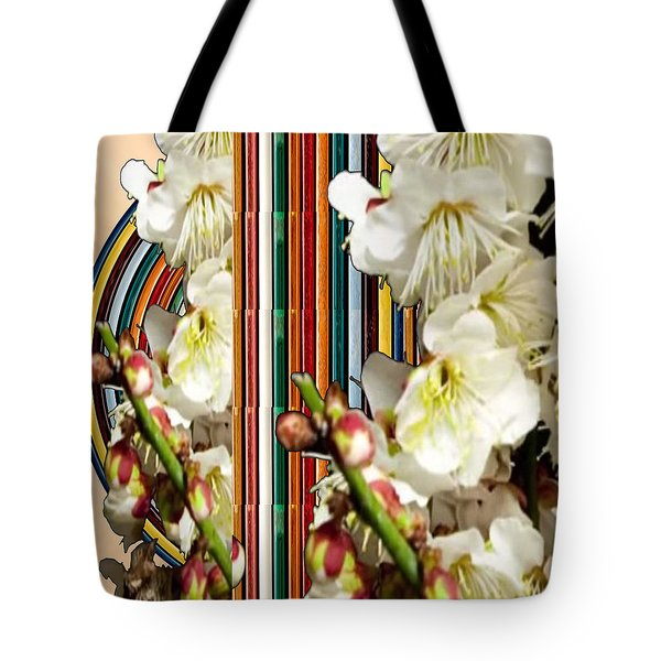 White Flower Medley Colorful Rainbow Stripes On The Backdrop Artist Navinjoshi  Tote Bag