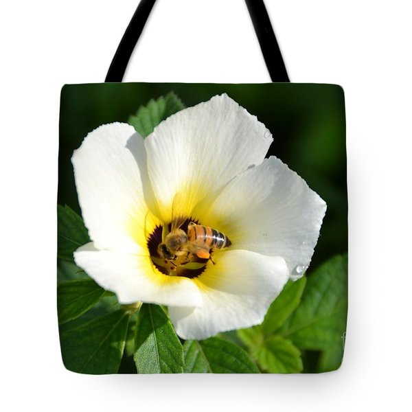 Tote Bag featuring the photograph White Flower- Nectar by Darla Wood