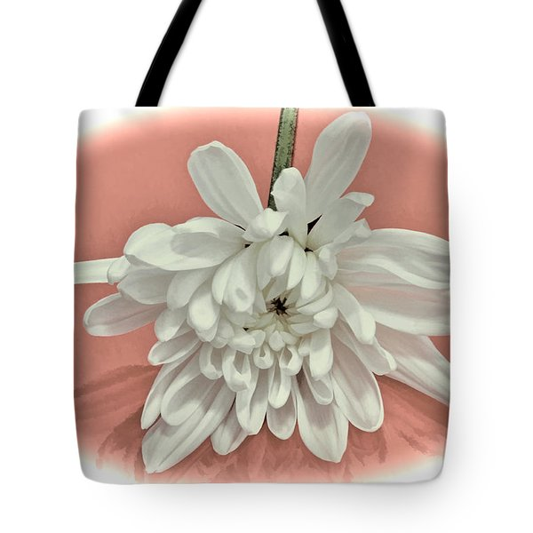 White Flower On Pale Coral Vignette Tote Bag