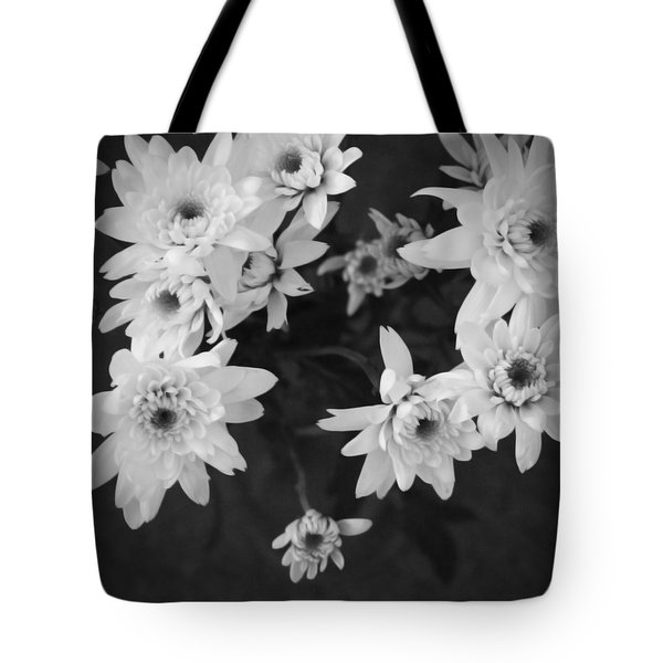 White Flowers- Black And White Photography Tote Bag