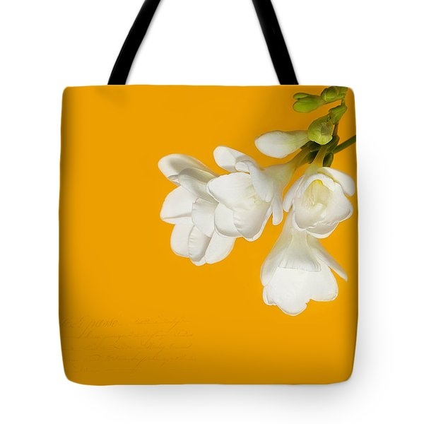 Tote Bag featuring the photograph White Flowers On Tangerine Study by Lisa Knechtel