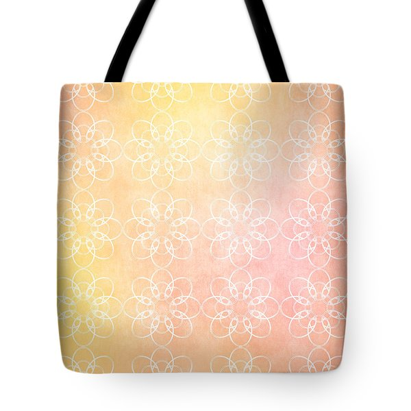 Tote Bag featuring the drawing White Flowers With Warm Orange Background by Lenny Carter