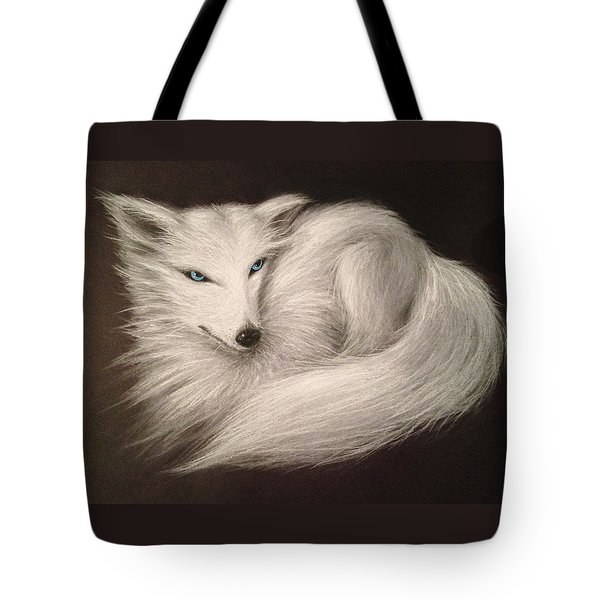 Tote Bag featuring the drawing White Fox by Patricia Lintner