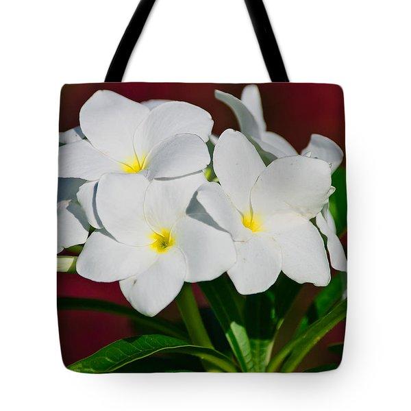White Frangipani Tote Bag