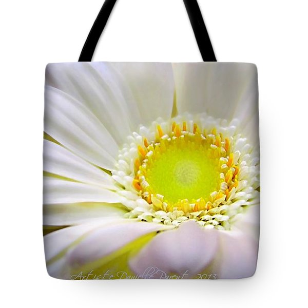 White Gerber Daisy Macro Tote Bag by Danielle  Parent