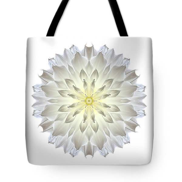 Giant White Dahlia I Flower Mandala White Tote Bag