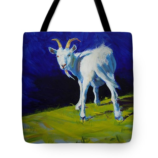 White Goat Painting Tote Bag