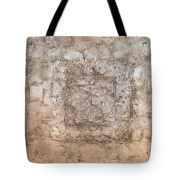 White Gold Mixed Media Triptych Part 2 Tote Bag