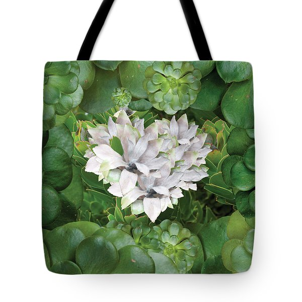 White Green Flower Tote Bag by Alixandra Mullins