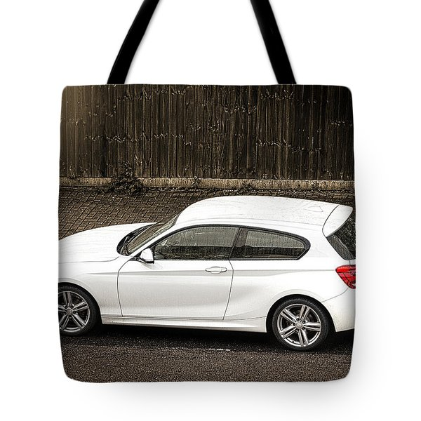 White Hatchback Car Tote Bag