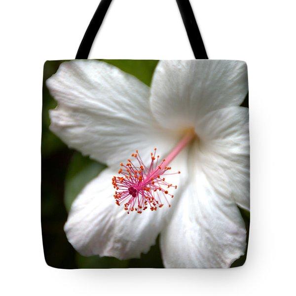 White Hibiscus Tote Bag