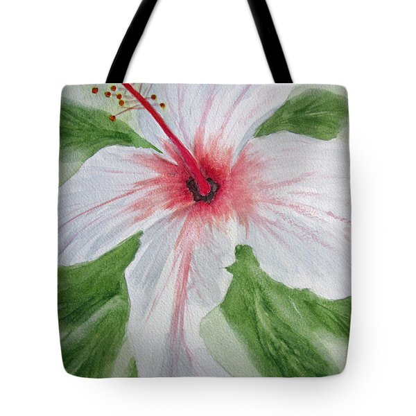 White Hibiscus Flower Tote Bag