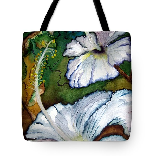 White Hibiscus Tote Bag by Lil Taylor