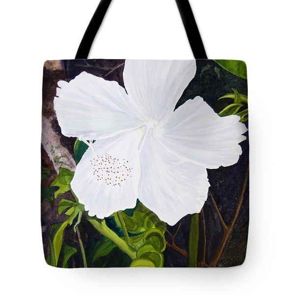 White Hibiscus Tote Bag by Mike Robles