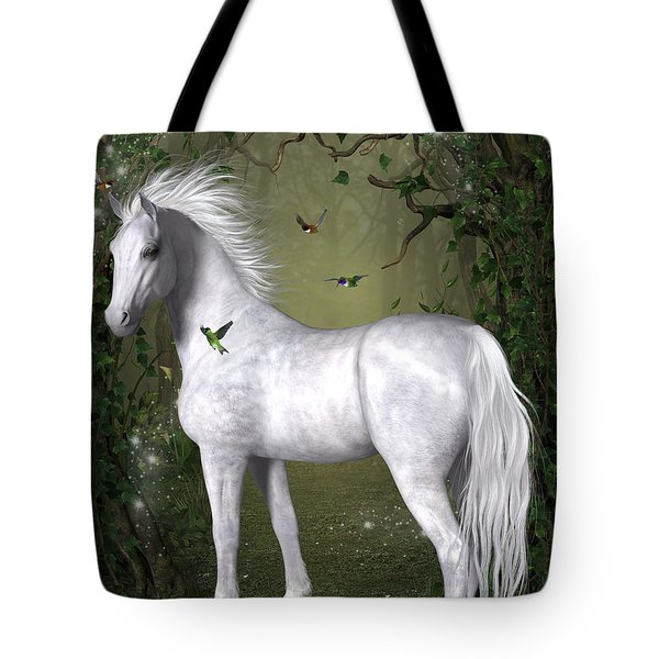 White Horse In The Woods Tote Bag