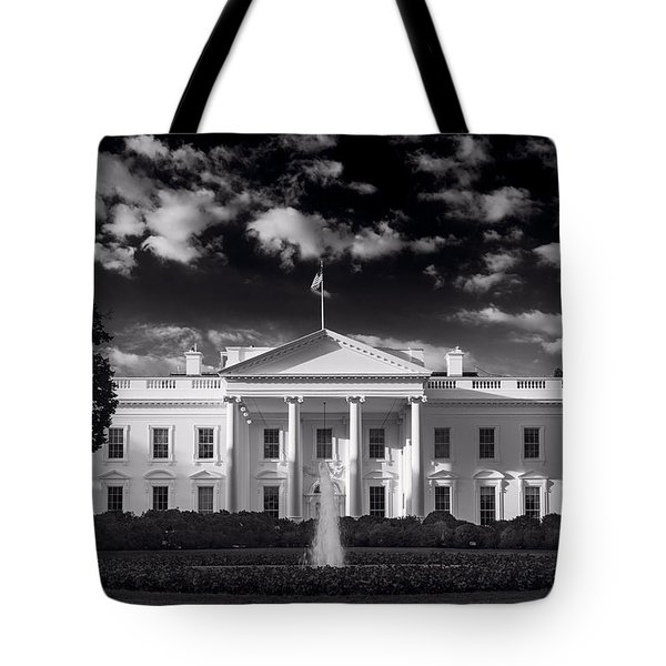 White House Sunrise B W Tote Bag by Steve Gadomski