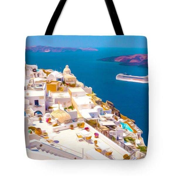 White Houses Of Santorini Tote Bag