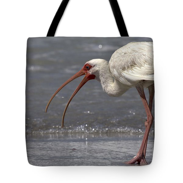Tote Bag featuring the photograph White Ibis On The Beach by Meg Rousher