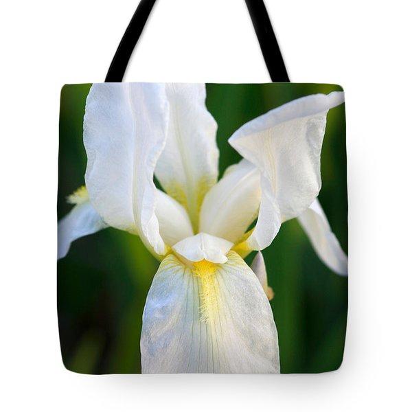 White Iris Tote Bag by Joan Bertucci