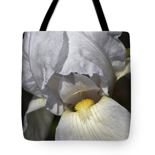 Tote Bag featuring the photograph White Iris by Joy Watson