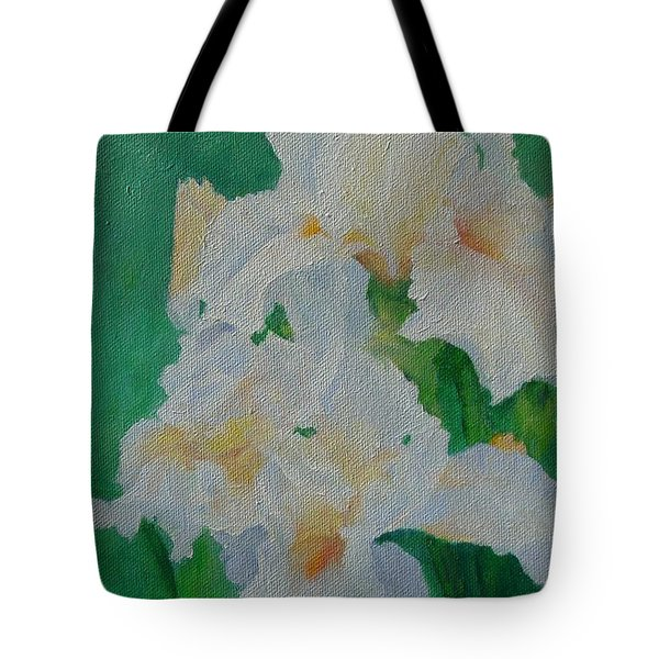 White Irises Original Oil Painting Iris Cluster Beautiful Floral Art Tote Bag