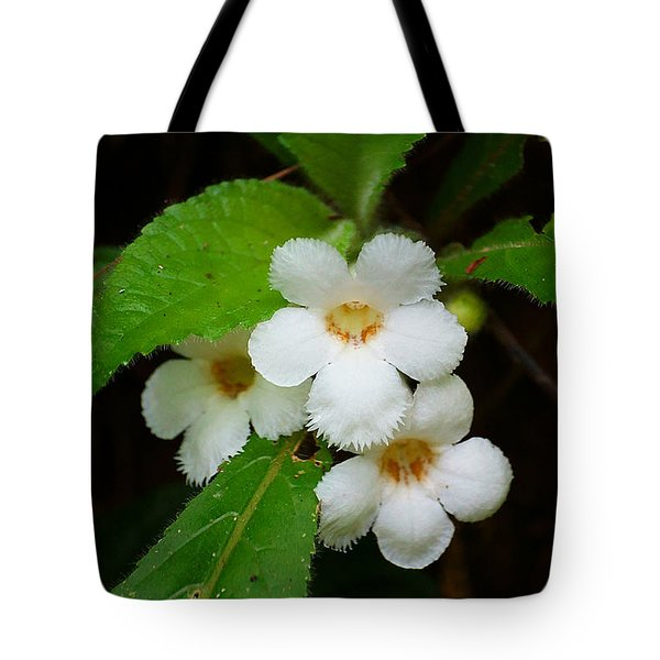 White Jungle Wildflower Tote Bag by Blair Wainman