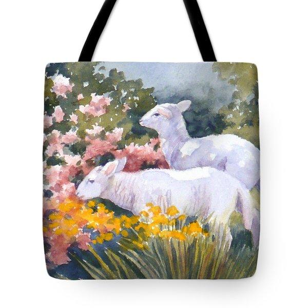 White Lambs In Scotland Tote Bag