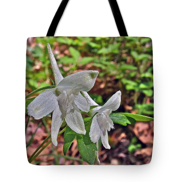 White Larkspur On Rock Spring Trail Near Natchez Trace Parkway-alabama Tote Bag by Ruth Hager