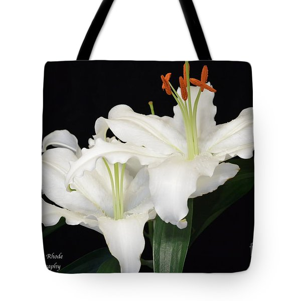 Tote Bag featuring the photograph White  Lilies by Jeannie Rhode