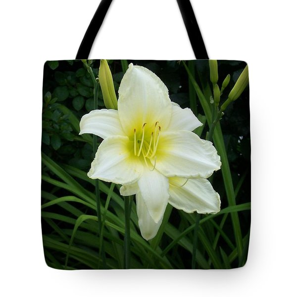 White Lily Tote Bag by Catherine Gagne