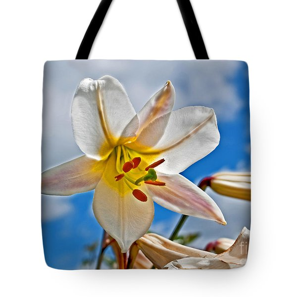 White Lily Flower Against Blue Sky Art Prints Tote Bag