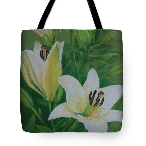 White Lily Tote Bag by Pamela Clements