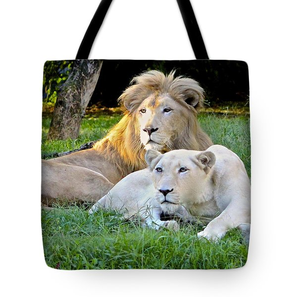 White Lion And Lioness Tote Bag by Venetia Featherstone-Witty