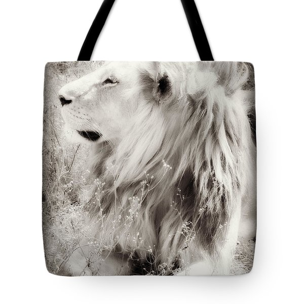 White Lion Tote Bag by Chris Scroggins