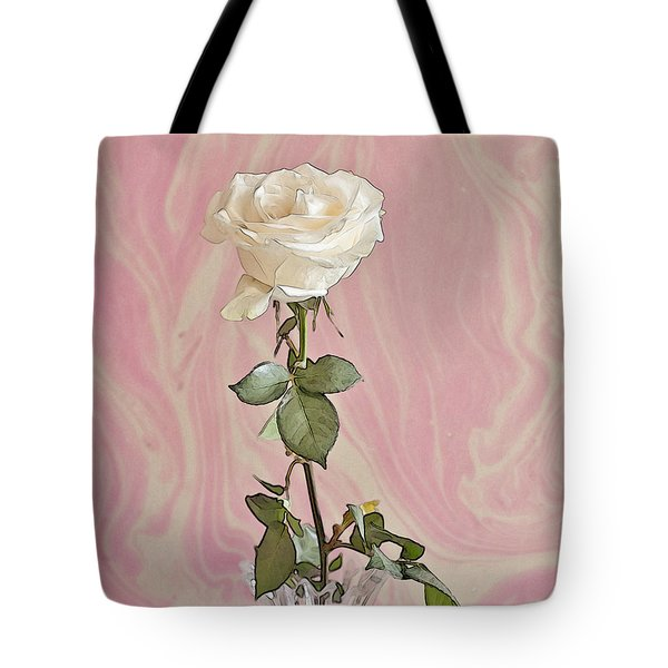 Tote Bag featuring the photograph White Long Stemmed Rose by Sandra Foster
