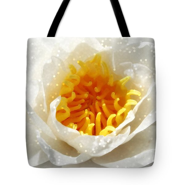 White Lotus Flower Tote Bag