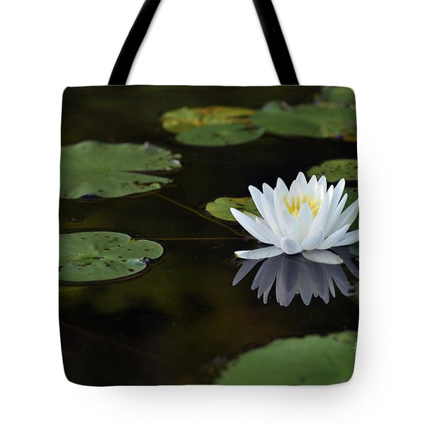White Lotus Lily Flower And Lily Pad Tote Bag by Glenn Gordon