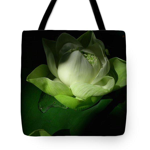 White Lotus Unfolding Tote Bag