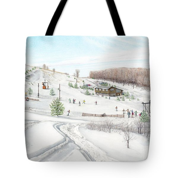 Tote Bag featuring the painting White Mountain Resort by Albert Puskaric