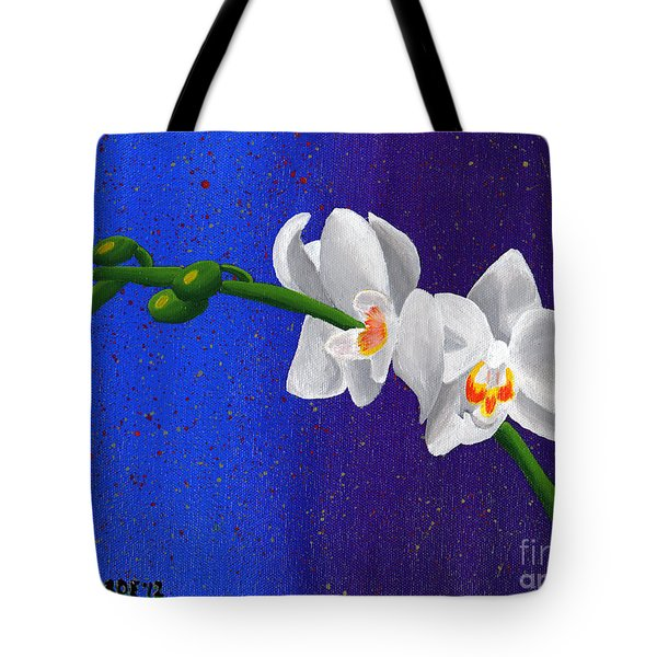 Tote Bag featuring the painting White Orchids by Laura Forde