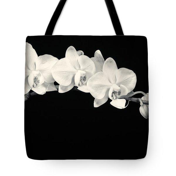 White Orchids Monochrome Tote Bag