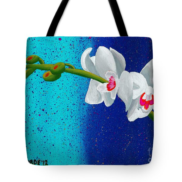 Tote Bag featuring the painting White Orchids On Blue by Laura Forde