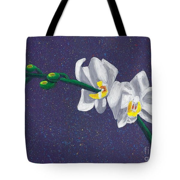 Tote Bag featuring the painting White Orchids On Dark Blue by Laura Forde